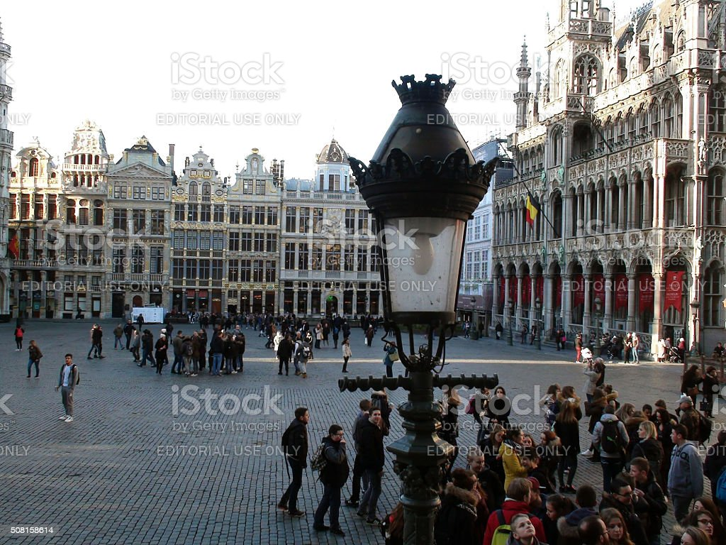 Architecture And Building And Group Of Tourists At Grand Place.Brussels.Belgium.Europe stock photo