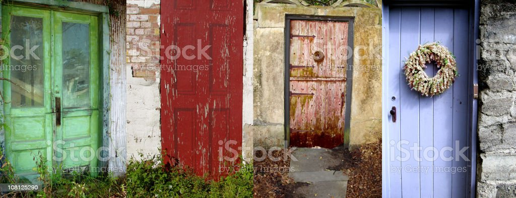 Architecture and Doorway Collage of Old Rustic Cottage Doors royalty-free stock photo