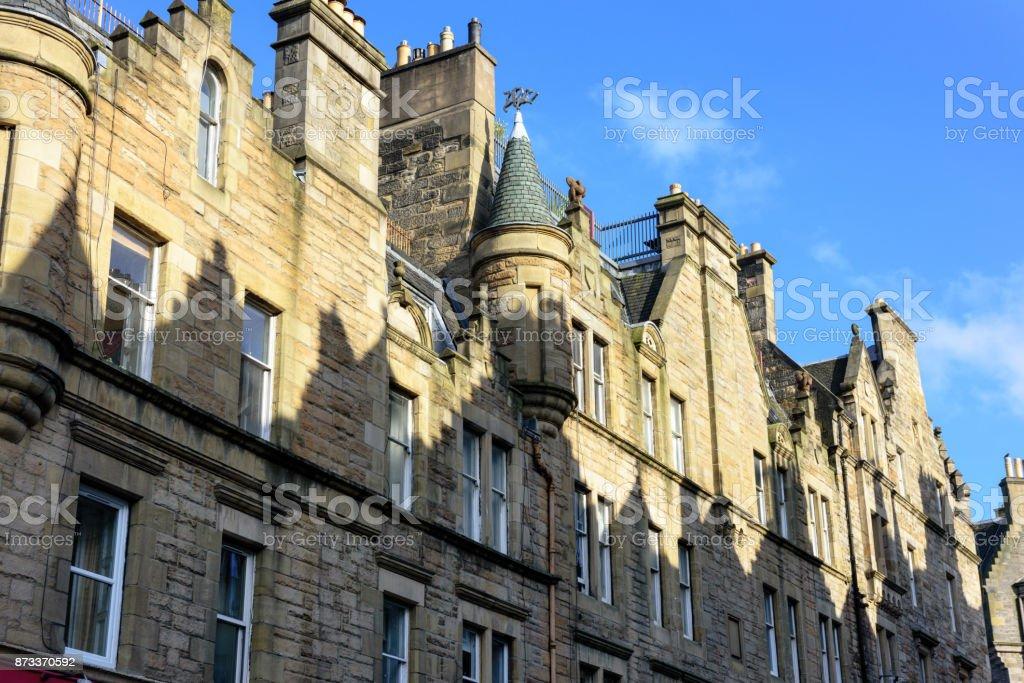 Architecture and shadows, Jeffrey Street, Edinburgh, Scotland stock photo