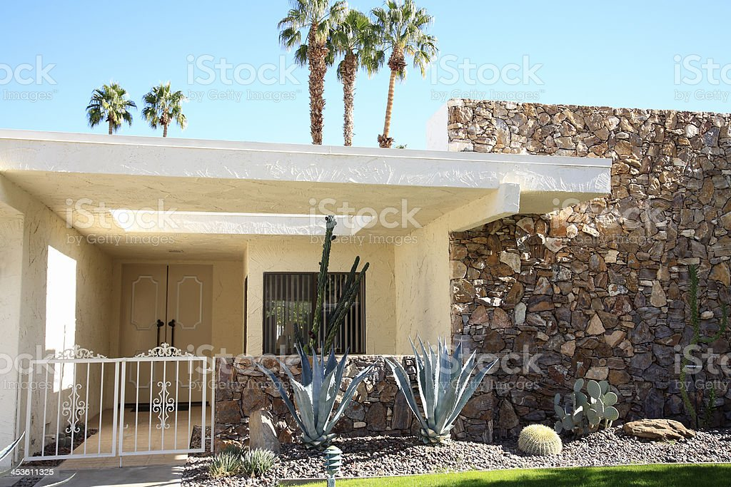 Architecture And Xeriscaping Of A Mid Century Home stock photo