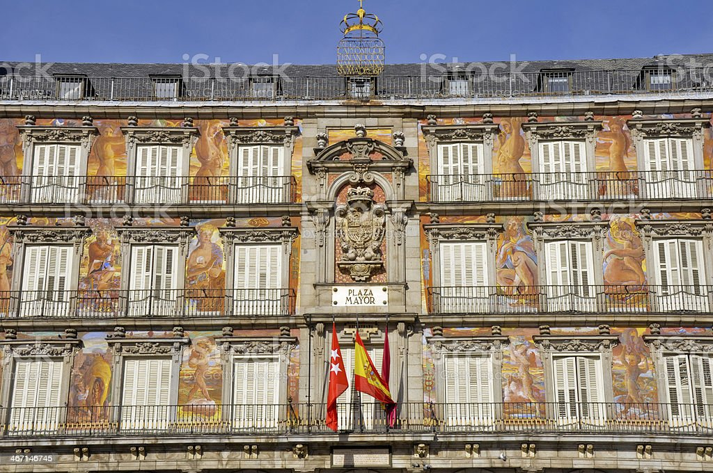 Architecture at Plaza Mayor (Main Square) in Madrid, Spain stock photo