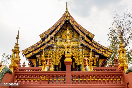 Architecture, decoration and the name in Thai Language of the building at Wat Phra That Doi Phra Chan on the mountain in Mae Tha District, Lampang, Thailand.