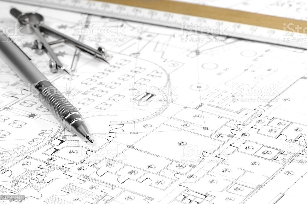 Architecture blueprint and tools royalty-free stock photo