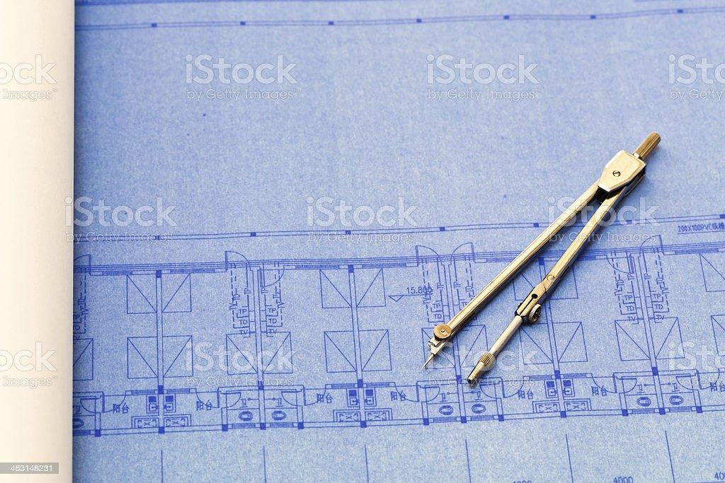 Architecture blueprint detail royalty-free stock photo