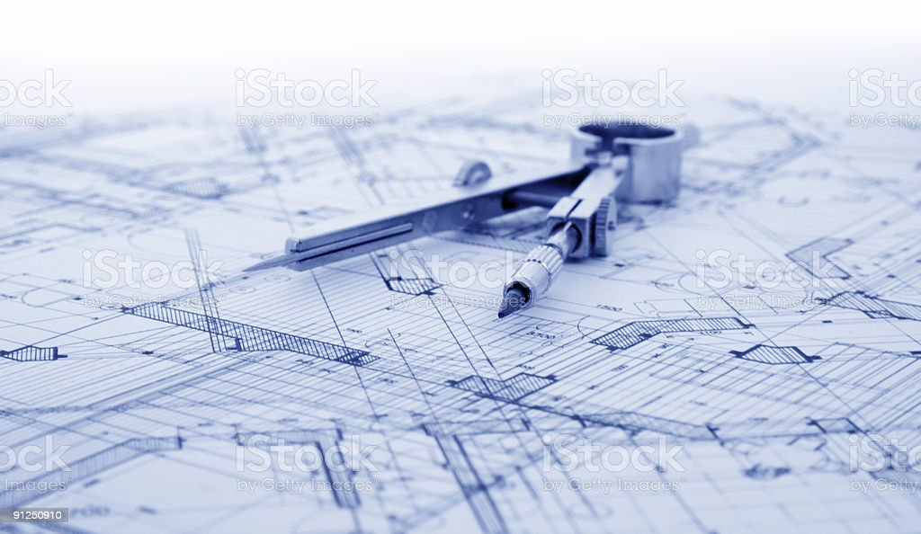 architecture blueprint & drawing compass royalty-free stock photo