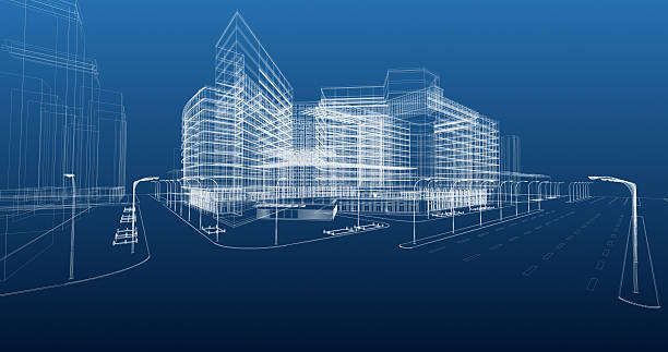 architecture blueprint - wire frame model stock photos and pictures
