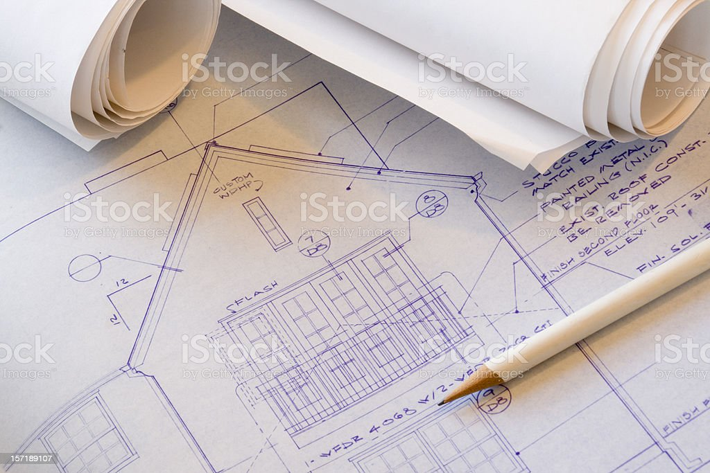 Architecture Blueprint Plan for Design and Engineering Construction Drawing royalty-free stock photo