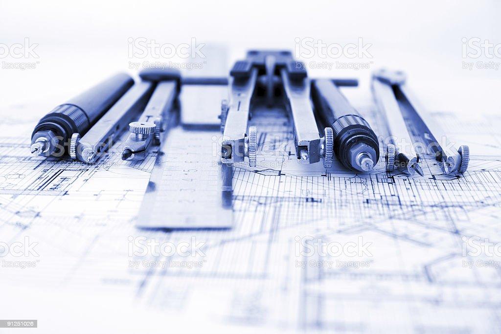architecture blueprint & tools royalty-free stock photo