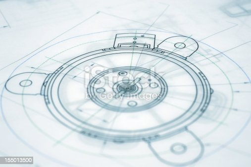 istock Architecture Blueprint-Mechanical Engineering Blueprint 155013500