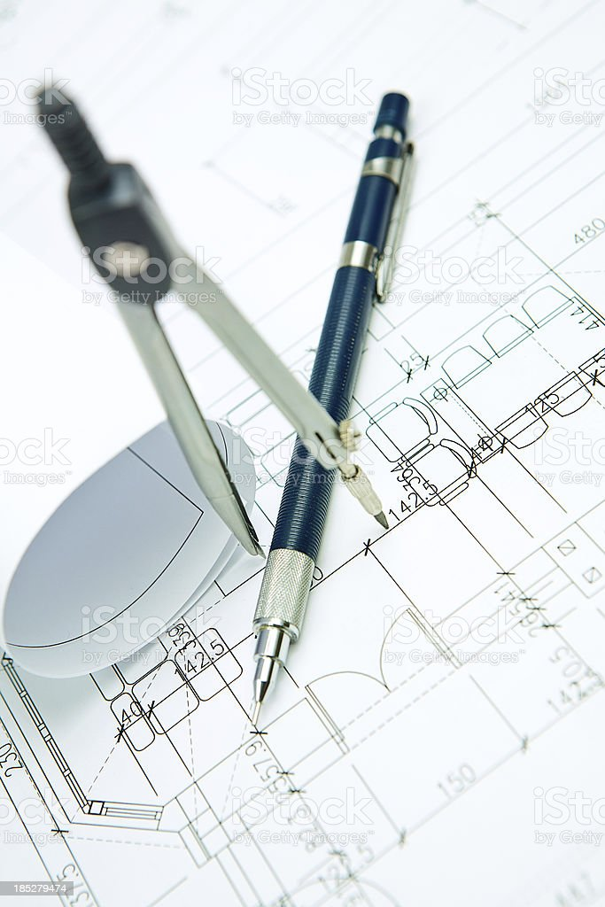 Architecture blueprints amp drawing tools stock photo istock architecture blueprints amp drawing tools royalty free stock photo malvernweather Image collections