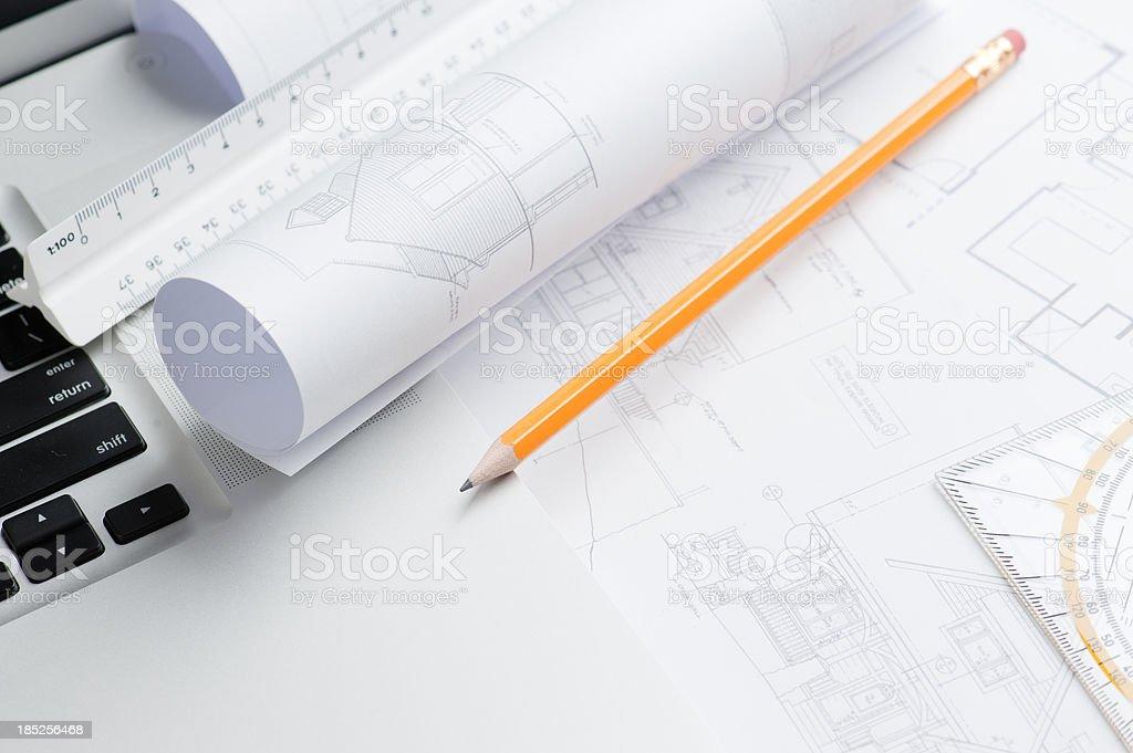 Architecture blueprints royalty-free stock photo