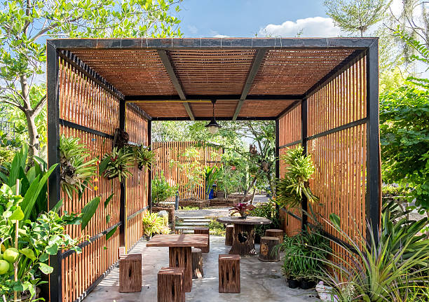 Architecture building wooden exterior in garden - Photo