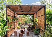 Architecture building wooden exterior in garden
