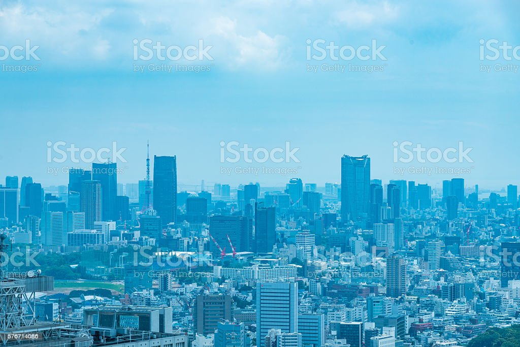 Architecture buildings cityscape in Tokyo skyline at Japan stock photo