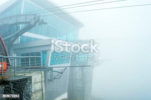 533437662 istock photo Architecture Cable car the fog stasion 868679384