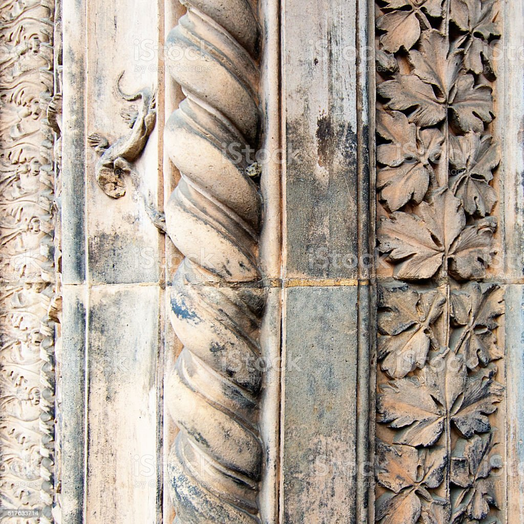 Architecture carved stone background of Victoria and Albert Museum stock photo