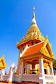 Architecture  church outdoor idyllic with golden in temple and clear sky at countryside Thailand