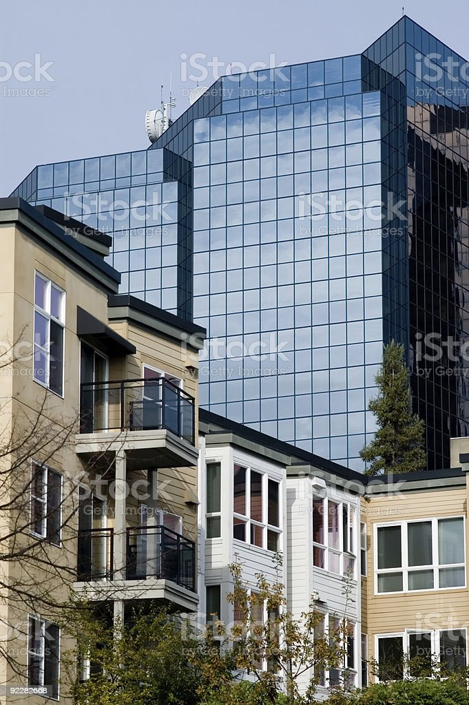 Architecture - Corporate vs Residential royalty-free stock photo