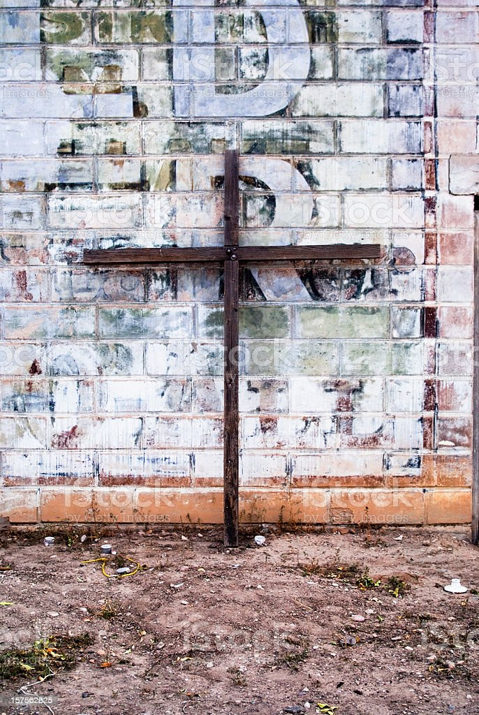 architecture cross and brick wall grunge abstract royalty-free stock photo