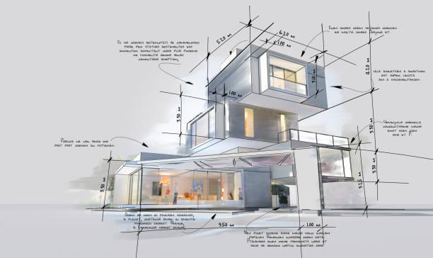 Architecture design development phases stock photo