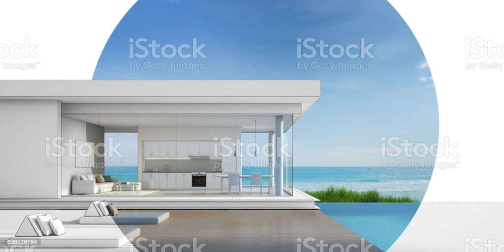 Architecture design of luxury beach house with sea view pool stock photo