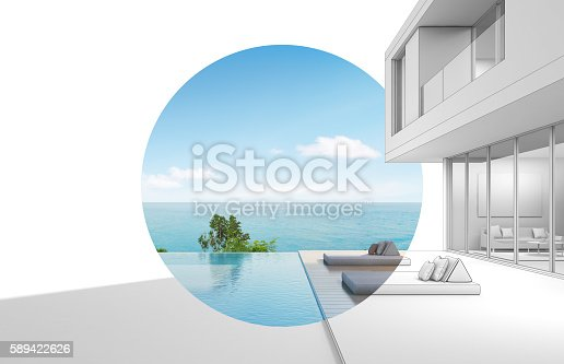 istock Architecture design of sea view modern house 589422626