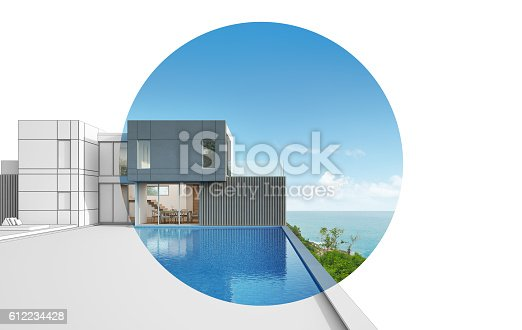 istock Architecture design of sea view modern house 612234428