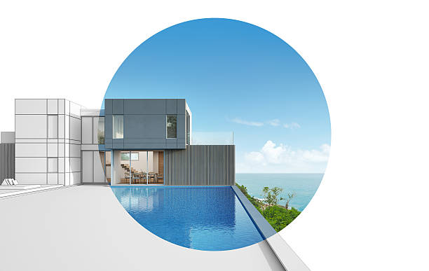 architecture design of sea view modern house - traum pools stock-fotos und bilder