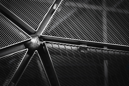 Architecture detail Modern Metal Structure Pattern Construction; abstract back and white