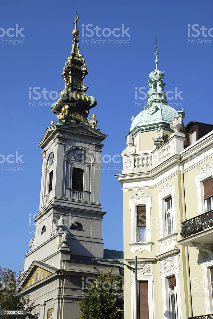 Architecture details - Belgrade cathedral stock photo