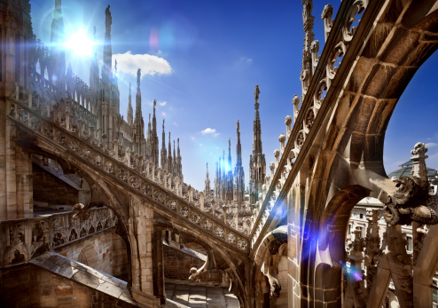 Architecture details of Duomo in Milan