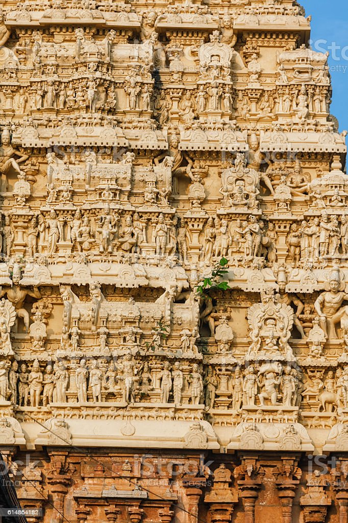 architecture details of facade Sri Padmanabhaswamy temple Trivandrum Kerala India stock photo