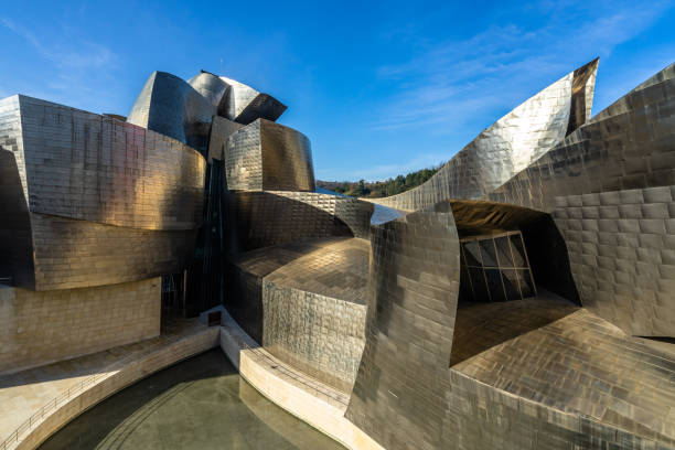 Architecture details of Guggenheim Museum, clad in glass, titanium, and limestone, Bilbao, Basque Country, Spain stock photo