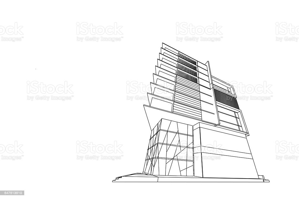 architecture drawing abstract, 3d illustration stock photo