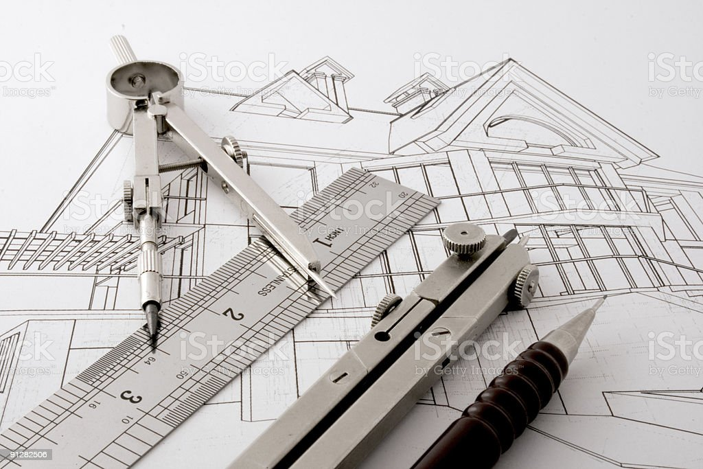 architecture drawing & instruments royalty-free stock photo