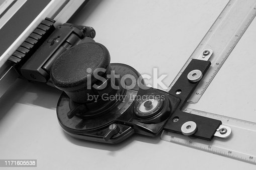 istock Architecture drawing table instrument close-up picture 1171605538