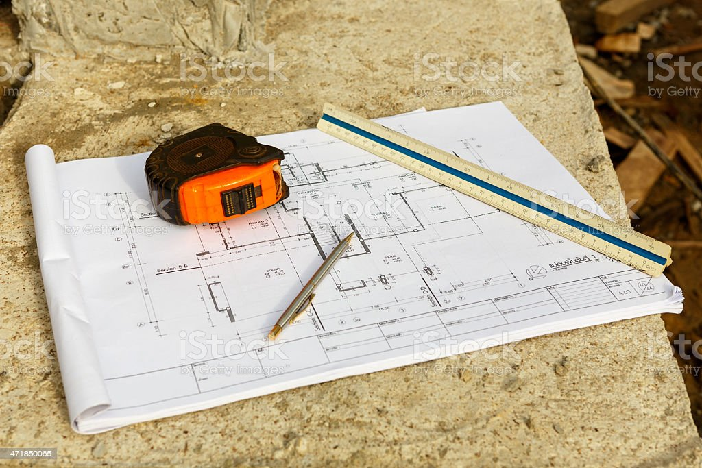 architecture drawings with pencil  , ruler and Cartridges meters royalty-free stock photo