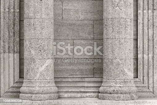 istock Architecture, elements and details of the building. Black and white background with classic columns against the wall. 1058366208