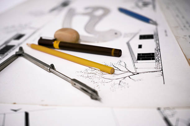 Architecture Equipments Paper Pen Compasses Scale Plan stock photo