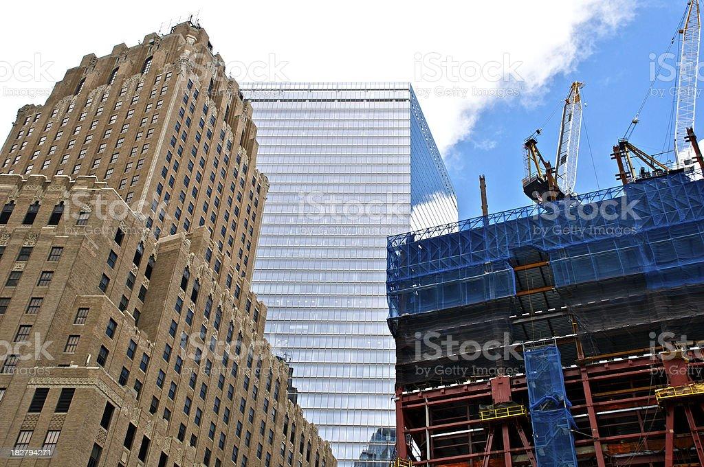 NYC Architecture - Eras in contrast at Ground Zero stock photo