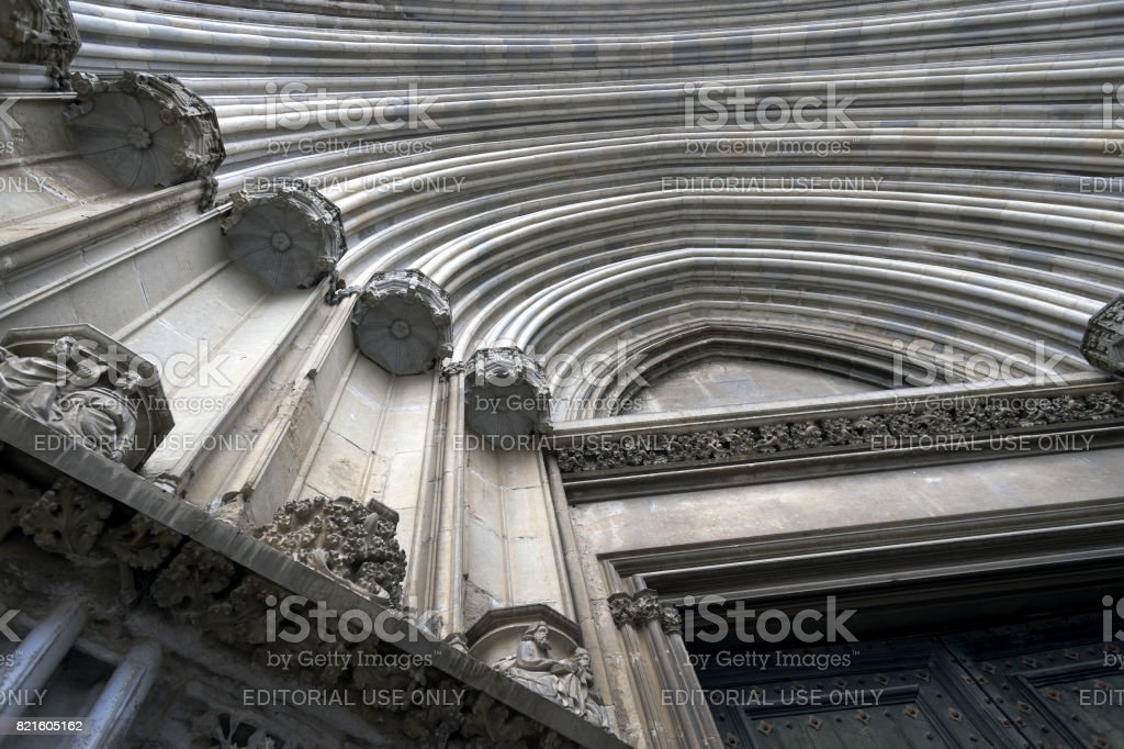 JULY 2017 - Part of the the northern facade of The Girona Cathedral,...