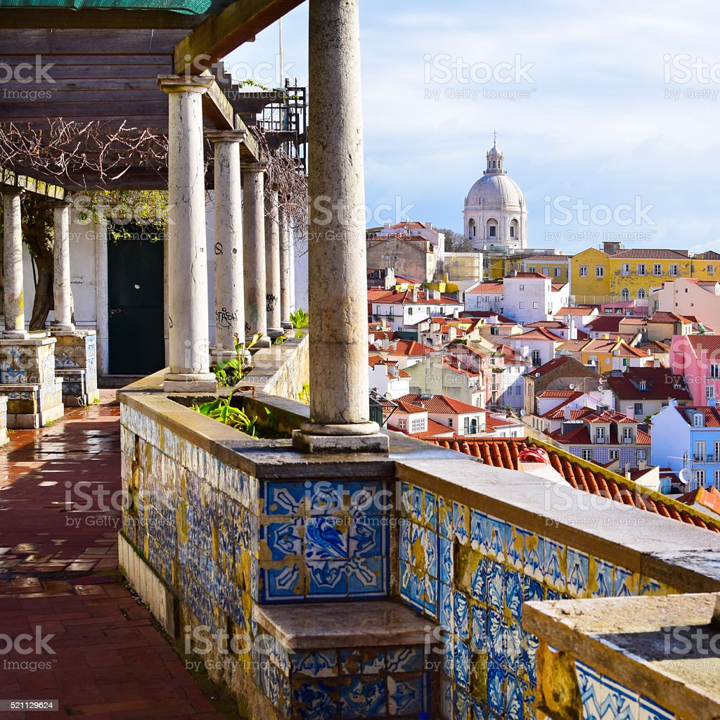 Architecture in Alfama district in Lisbon, Portugal stock photo