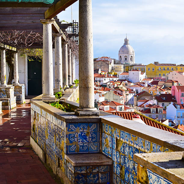 Architecture in Alfama district in Lisbon, Portugal stock photo