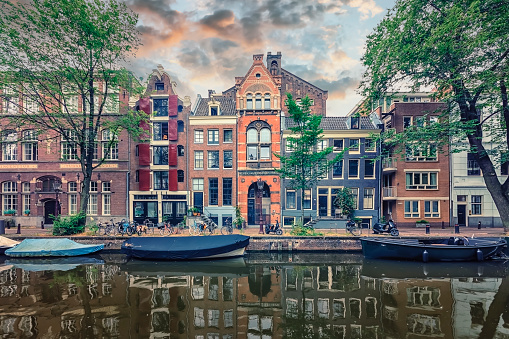Amsterdam city in the evening, Netherlands