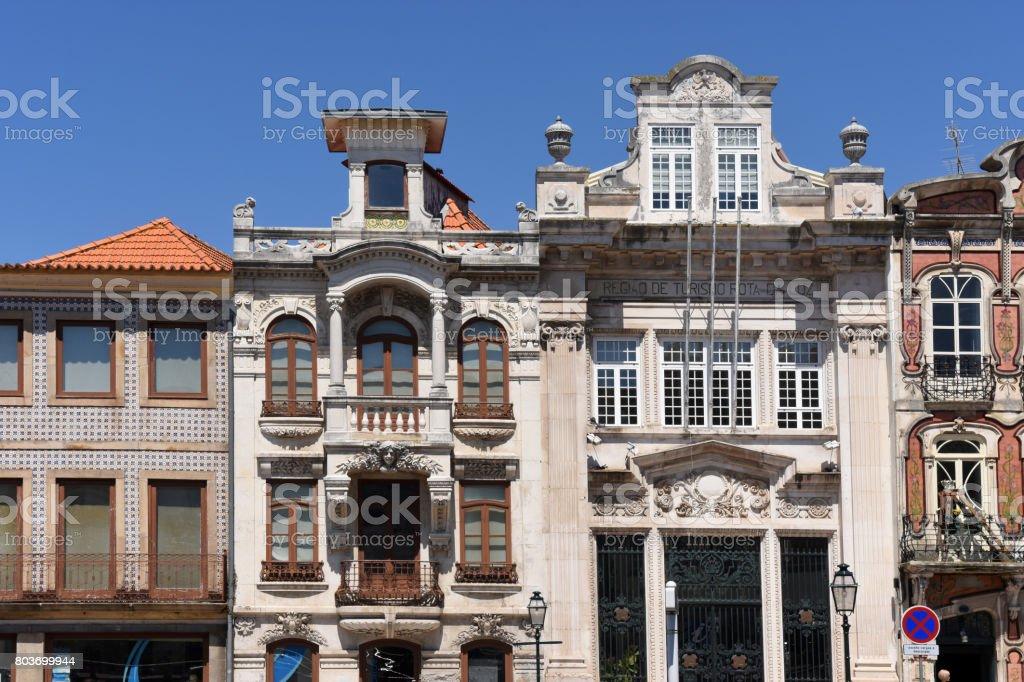 Architecture in Aveiro, Beiras region, Portugal stock photo