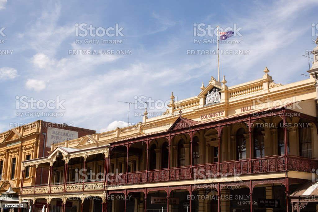 Architecture in historic gold mining town stock photo