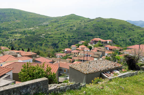 Architecture in Katalakko village, Lemnos island, Greece stock photo