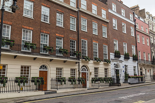 Architecture in Mayfair London London, UK - October 8, 2016: The outside of architecture in Mayfair London during the day. mayfair stock pictures, royalty-free photos & images
