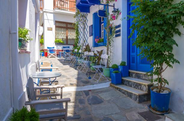 Architecture in the Chora village of Skopelos island, Greece stock photo