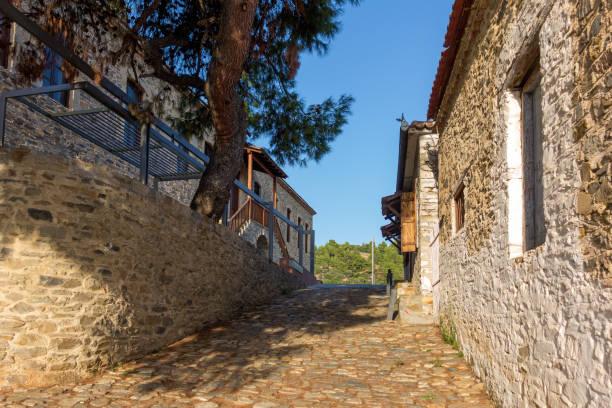 Architecture in the old Nikiti village, Sithonia, Chalkidiki, Greece stock photo
